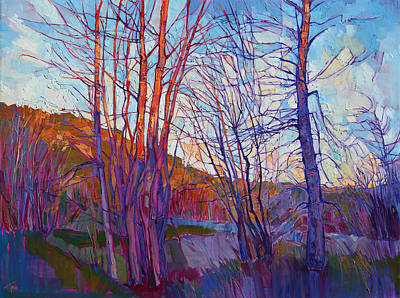 Glacier National Park Painting - Winter Silhouette by Erin Hanson