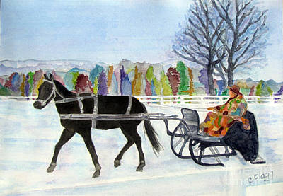 Art Print featuring the painting Winter Sleigh Ride by Carol Flagg