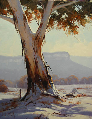 Frosty Painting - Winter Snow Gum by Graham Gercken