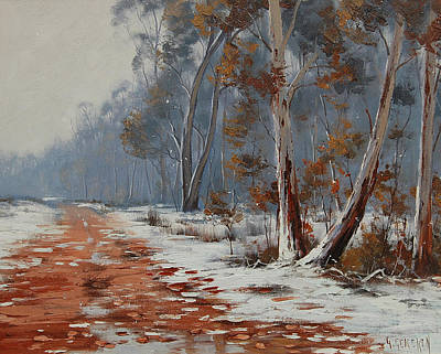 Frosty Painting - Winter Snow Gums  by Graham Gercken
