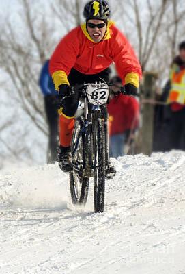 Winter Snow Mountain Bike Race Art Print by Darleen Stry