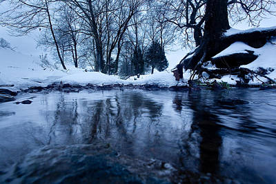 Winter Snow On Stream Art Print