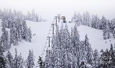 Winter Snow Ski Down The Mountain Red Chairlift To The Top Print by Jerry Cowart