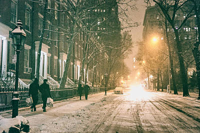 Snowy Night Photograph - Winter - Snow - Washington Square - New York City by Vivienne Gucwa