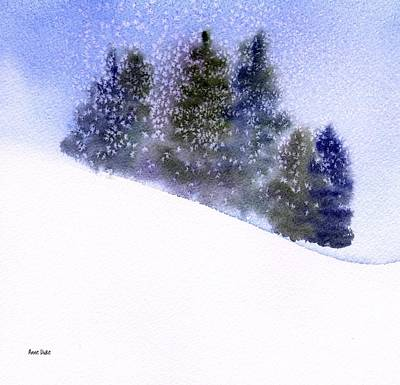 Ski Painting - Winter Snowfall by Anne Duke