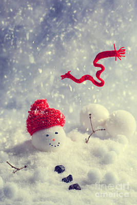 Winter Snowman Art Print by Amanda Elwell