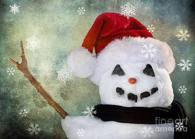 Winter Snowman Art Print by Cindy Singleton