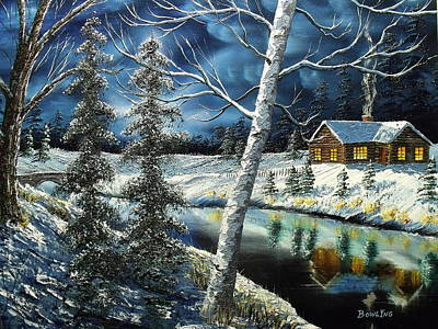 Snowscape Painting - Winter Solitude by Don Bowling
