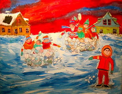 Snow Fort Painting - Winter Sport by Michael Litvack