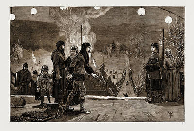 Winter Sports Drawing - Winter Sports In Canada Lord Lornes Tobogganing Party by Litz Collection