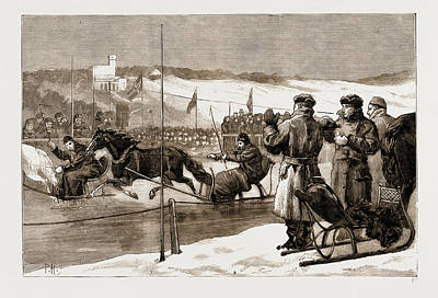 Norway Drawing - Winter Sports In Norway Sledge Races by Litz Collection
