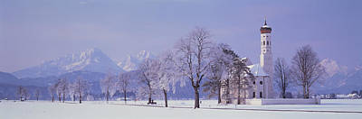 Bare Trees Photograph - Winter St Coloman Church Schwangau by Panoramic Images