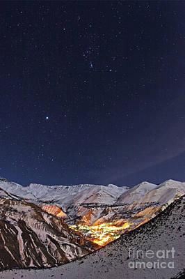 Snowy Night Photograph - Winter Stars Over Iranian Village by Babak Tafreshi
