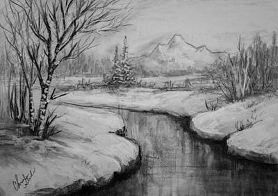 Steele Drawing - Winter Stillness by Chris Steele