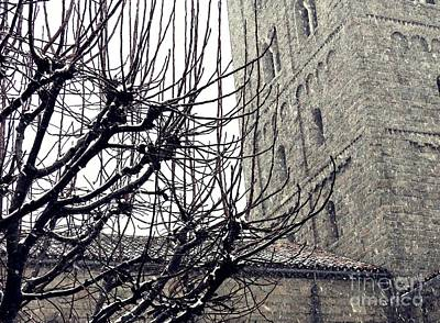 Winter Storm At The Cloisters 2 Art Print by Sarah Loft