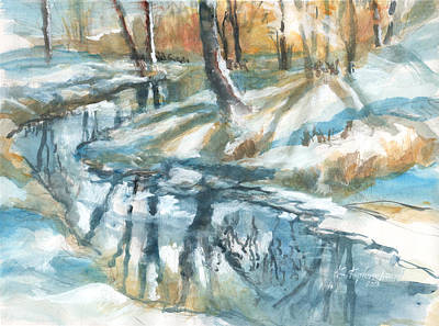 Painting - Winter Stream And Reflections by Kerry Kupferschmidt