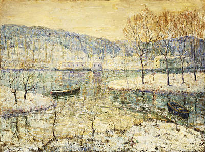 Impressionistic Landscape Painting - Winter Stream by Ernest Lawson