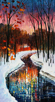 Winter Stream - Palette Knife Oil Painting On Canvas By Leonid Afremov Original by Leonid Afremov