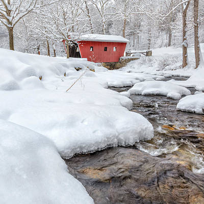 Photograph - Winter Stream Square by Bill Wakeley
