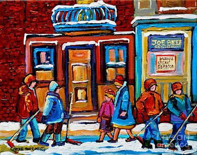 Greasy Spoon Restaurants Painting - Winter Street In Saint Henri by Carole Spandau