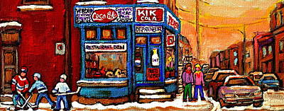 Kik Cola Painting - Winter Stroll Beautiful Sunny Day Montreal Street Scene  - Verdun Depanneur Hockey City Scene  by Carole Spandau