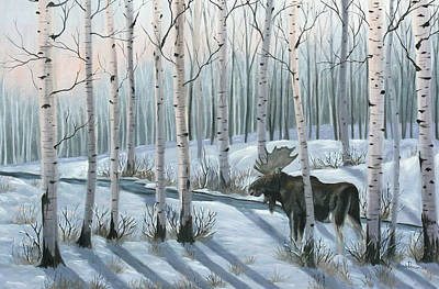 Winter Cabin Painting - Winter Stroll by Julie Peterson