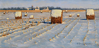 Bales Painting - Winter Stubble Bales by Bruce Morrison
