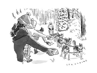 Winter Suited Volunteers Hold Out Dog Dishes Art Print by Trevor Spaulding