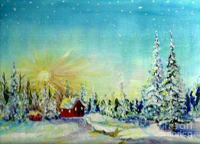 Snow Covered Pine Trees Painting - Winter Sun by Sarabjit Singh
