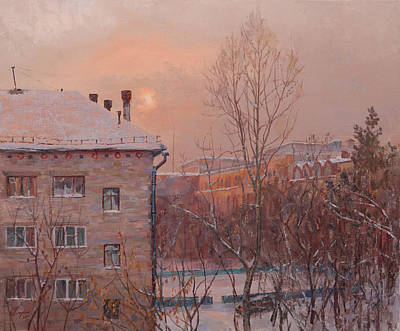 Frosty Weather Painting - Winter Sun Through The Clouds by Galina Gladkaya