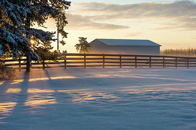 Barns In Snow Photograph - Winter Sunrise At A Ranch  Cremona by Deb Garside