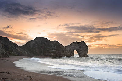 Vivid Fall Colors Photograph - Winter Sunrise At Durdle Door On Jurassic Coast In England by Matthew Gibson