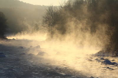 Photograph - Winter Sunrise Fog On The West River by John Burk