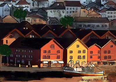 Ipad Art Painting - Winter Sunrise In Bergen by Michael Hodgson
