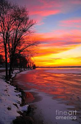 Art Print featuring the photograph Winter Sunrise On Lake Cadillac by Terri Gostola