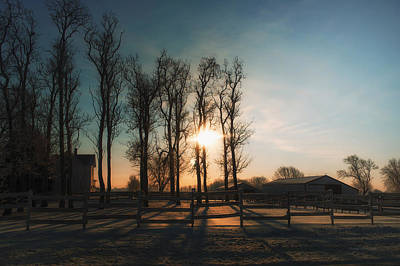 Photograph - Winter Sunrise On The Farm 01 by Thomas Woolworth