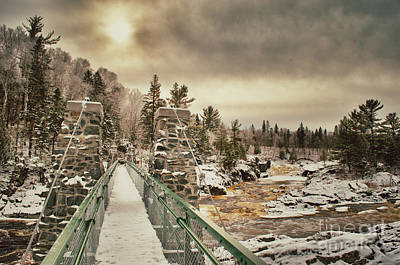 Photograph - Winter Sunrise Over A Swinging Bridge by Mark David Zahn