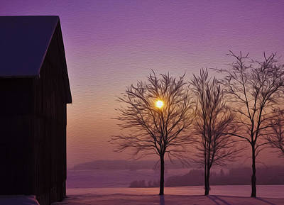 Old Barn Digital Art - Winter Sunset by Aged Pixel