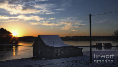 Winter Sunset At The Bog Print by Gina Cormier