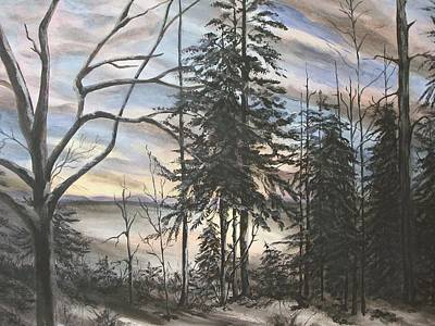 Winter Sunset Art Print by Bev  Neely