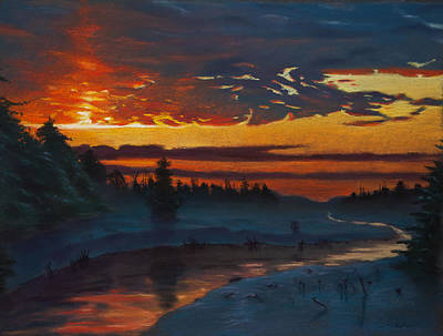 Painting - Winter Sunset by Christopher Reid