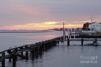 Winter Sunset Freeport Art Print by John Telfer