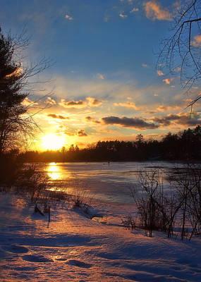 Winter Scene Photograph - Winter Sunset Holiday Card 3 by Joann Vitali