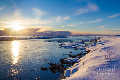 Winter Sunset In Iceland Art Print by Peta Thames