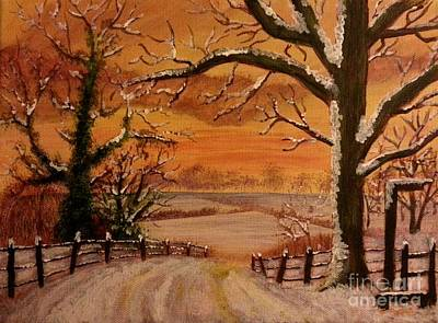 Painting - Winter Sunset  Lll by Elizabeth Coats