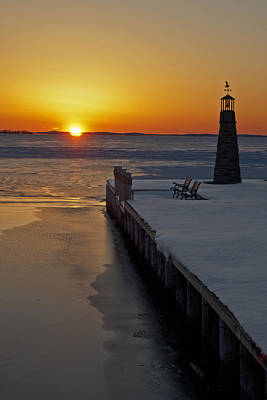 Art Print featuring the photograph Winter Sunset On Lake Winneconne by Judy  Johnson