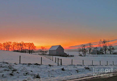 Barnyard Digital Art - Winter Sunset On The Farm by Minding My  Visions by Adri and Ray