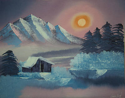 Winter Sunset--original Landscape Oil Painting Art Print by Laura SONG