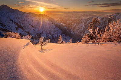 Snow Drifts Photograph - Winter Sunset Over Ogden by Rory Wallwork