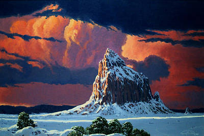 Reservation Painting - Winter Sunset Over Shiprock by Randy Follis
